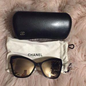 Chanel 5271 cat eye 18k gold sunglasses